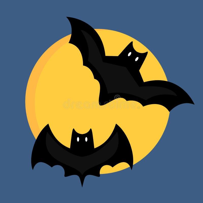 Bat cartoon flying wildlife mammal symbol spooky horror animal and mystery black waving halloween bird on full moon vector illustration