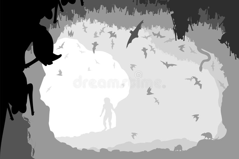 Bat cave. Editable vector illustration of a man at the mouth of a bat cave with all figures as separate objects vector illustration