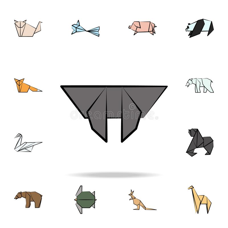 Bat colored origami icon. Detailed set of origami animal in hand drawn style icons. Premium graphic design. One of the collection. Icons for websites, web stock illustration