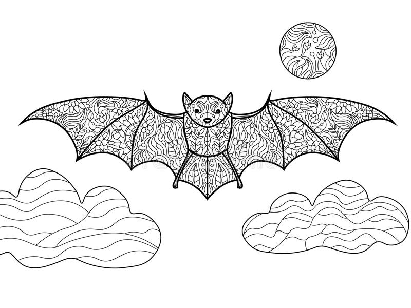 bat coloring book for adults vector illustration black and white lines lace pattern - Bat Coloring Pictures