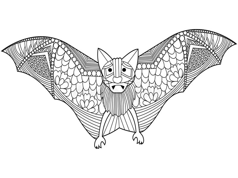 Download Bat Coloring Book Vector For Adults Stock