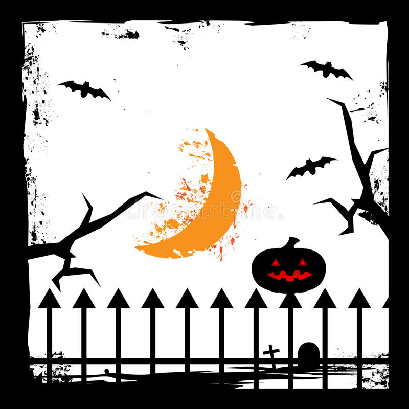 Bat,Crescent moon,twigs, and pumpkin. Spooky Halloween card. background Flat design. Vector illustration stock photography