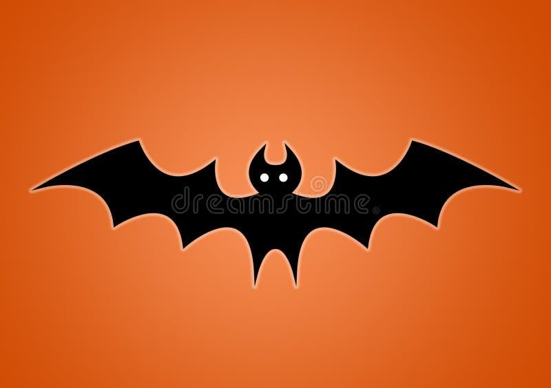 Bat digitally illustrated on orange background. For Halloween use as wallpaper vector illustration