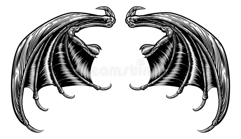 Bat or Dragon Wings stock illustration