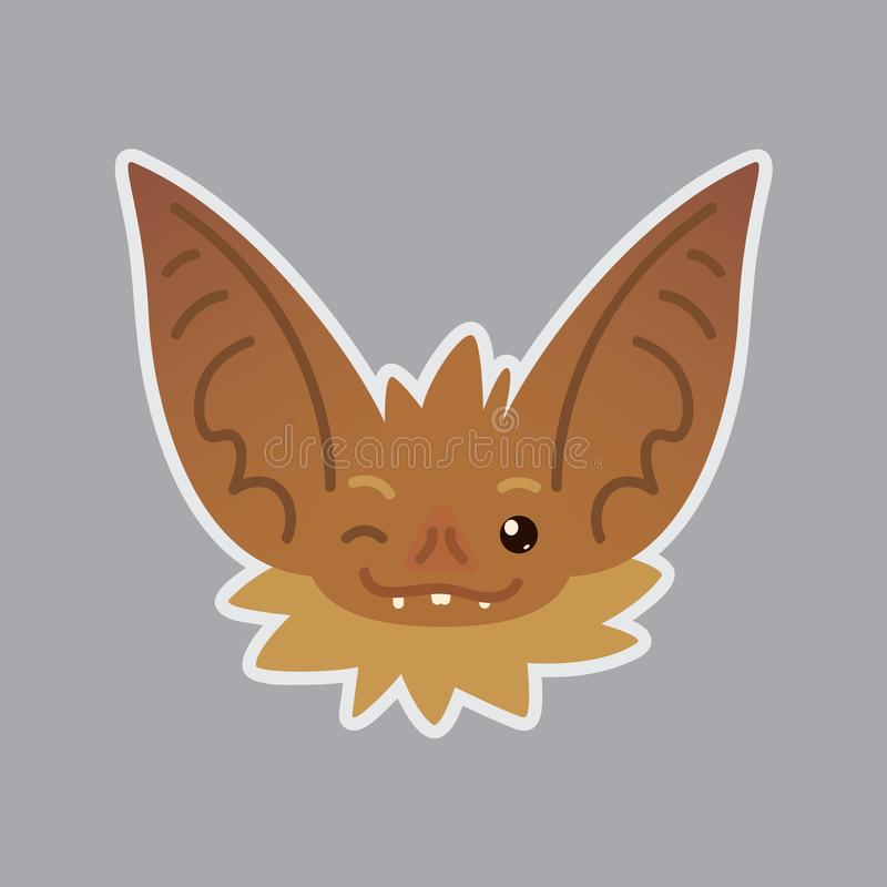 Bat emotional head. Blink eye emoji. Smiley icon. Bat emotional head. Vector illustration of bat-eared brown creature shows emotion. Blink eye emoji. Smiley stock illustration