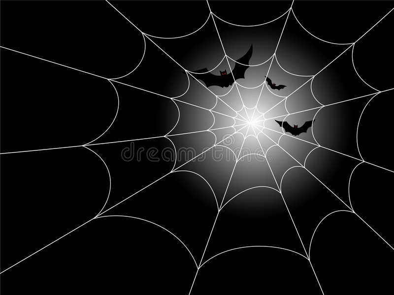 'bat' et Spiderweb dans le clair de lune illustration de vecteur