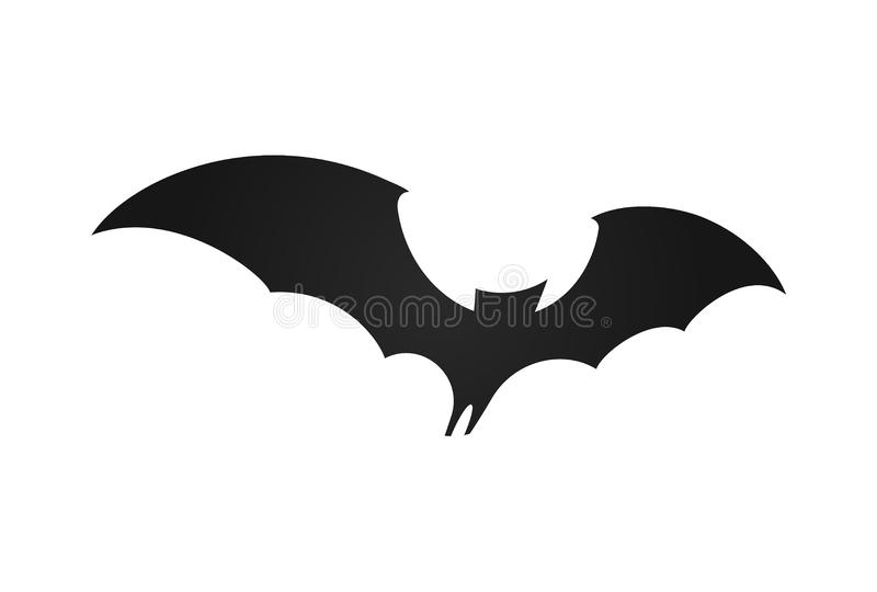 Bat in flight, wide wings, black silhouette of bat on white background, vector illustration. Halloween and vampire royalty free illustration
