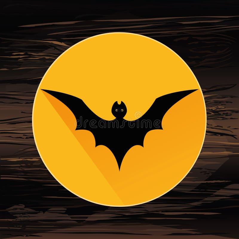 Bat4Halloween La silueta negra del palo está volando Vector ilustración del vector