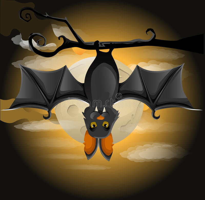 Download Bat hanging on a branch stock vector. Illustration of silhouette - 27036951