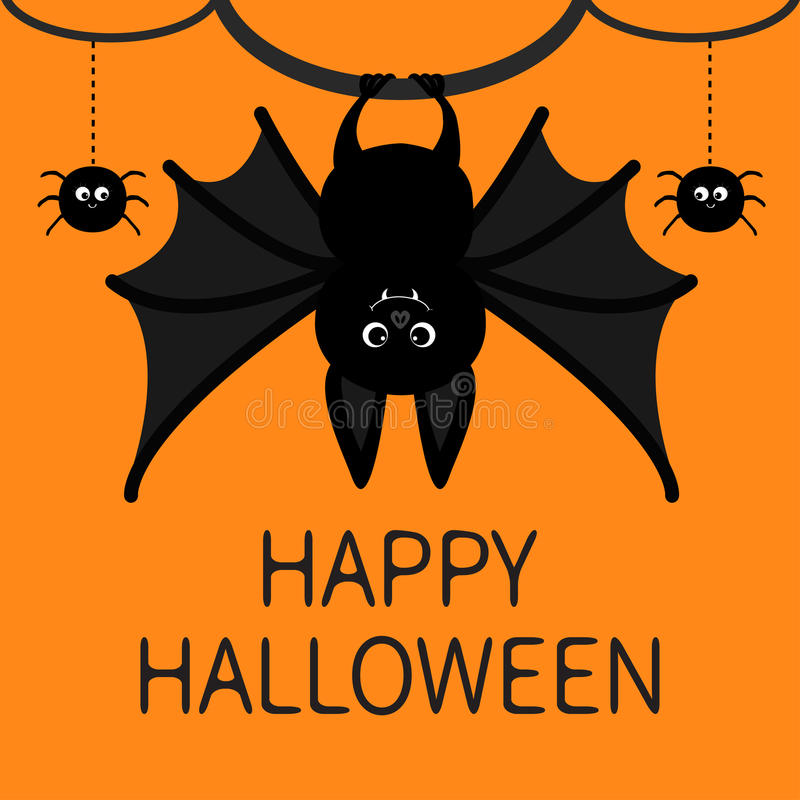 Bat hanging. Spider dash line web. Happy Halloween card. Cute cartoon character with big wing, ears and legs. Black. Bat hanging. Spider dash line web. Happy stock illustration