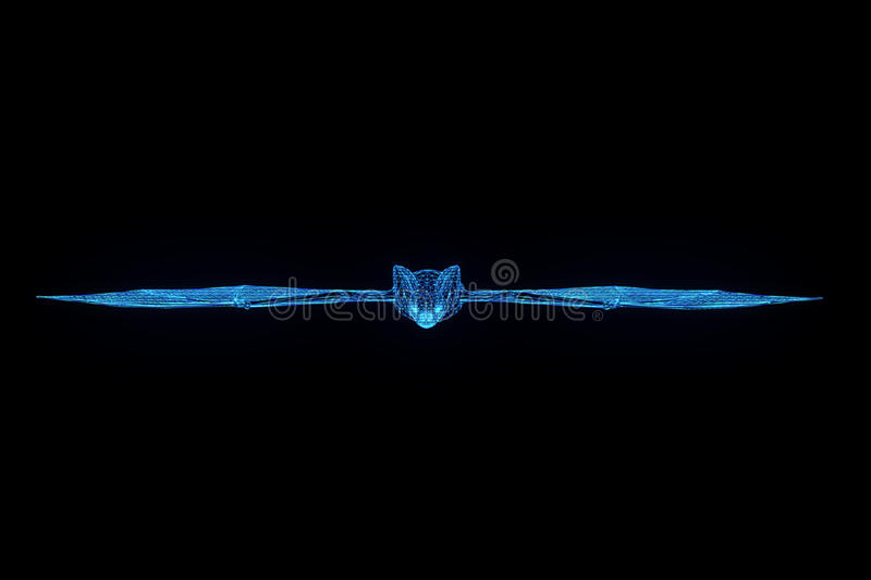 Bat in Hologram Wireframe Style. Nice 3D Rendering stock photography