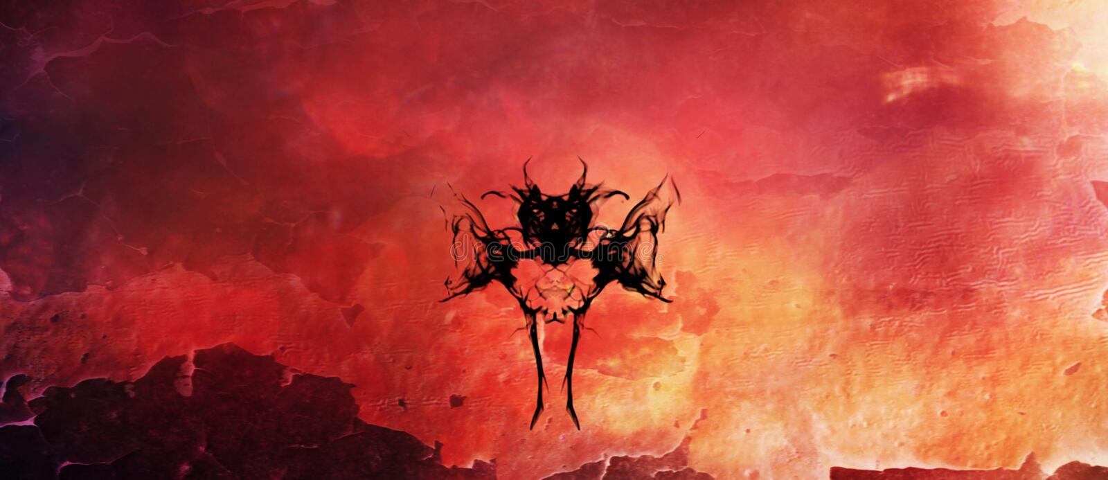 Bat Like Creature Silhouetted against Flames. A digital vector pattern of a bat or demon like creature silhouetted against an inferno vector illustration
