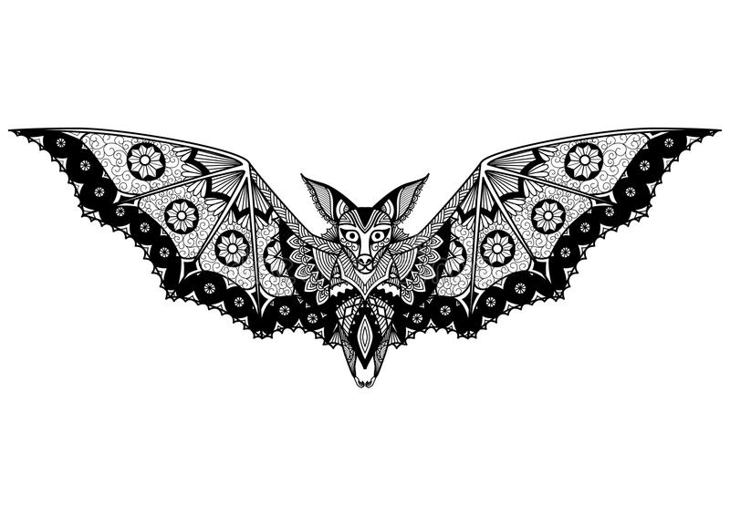 T Shirt Design Line Art : Bat line art design for tattoo t shirt coloring book and