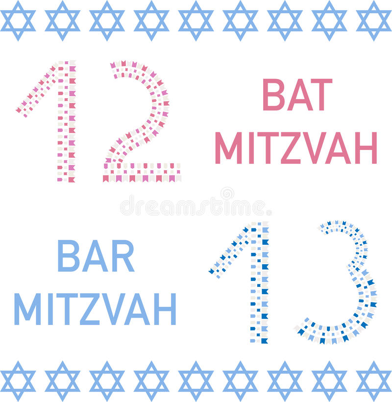 Bat mitzvah and bar mitzvah. 12 and 13 years old. stock illustration