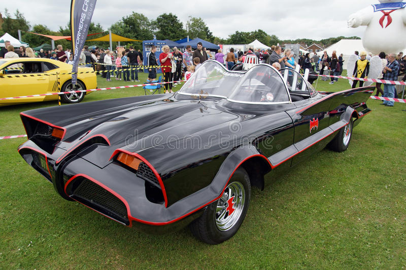 The Batmobile. The iconic and amazing Batmobile car featured at the Sci-Fi show in Kent - 15 June 2015. Picture is ideal for shows and enthusiasts stock images