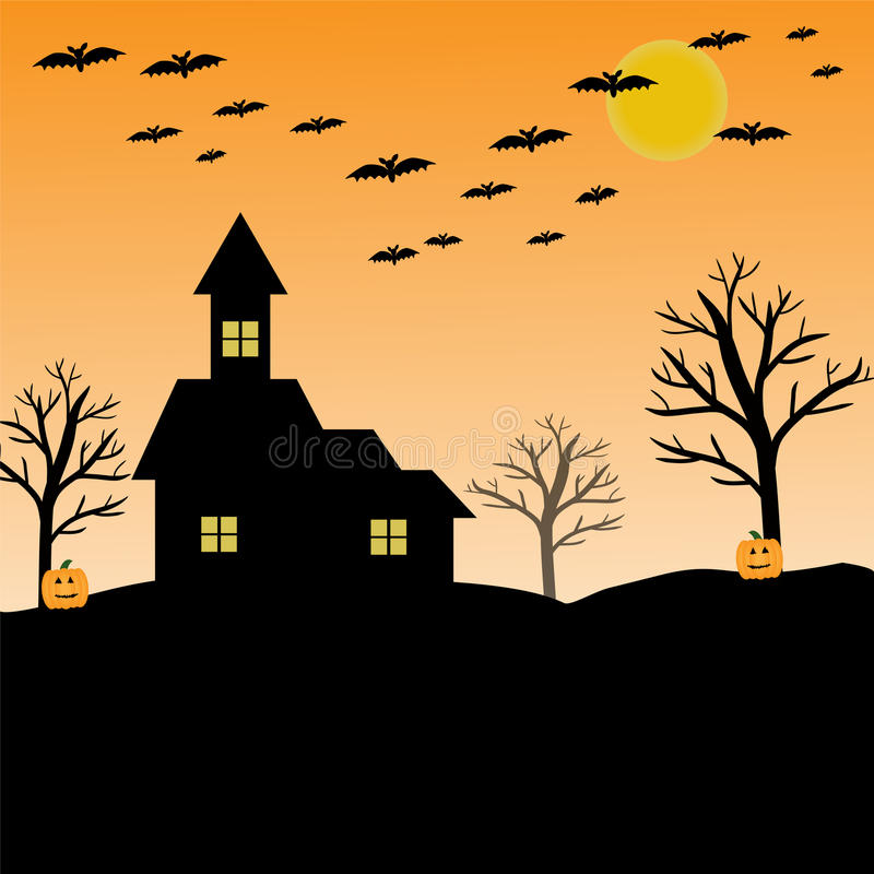 bat, pumpkin, house, moon and tree for halloween concept stock images