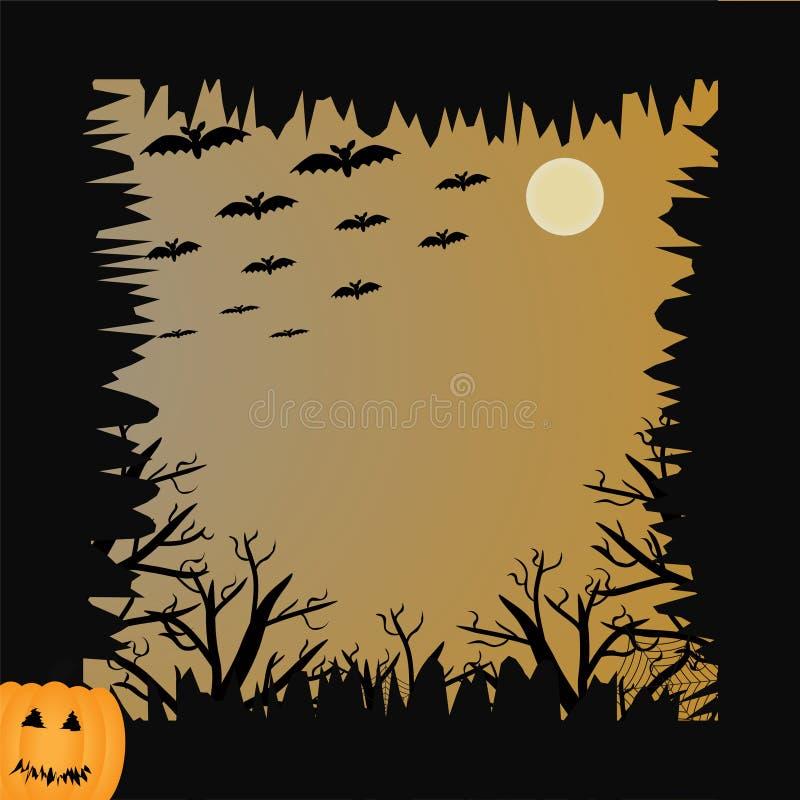 Bat, pumpkin, moon and tree for halloween concept royalty free stock photos
