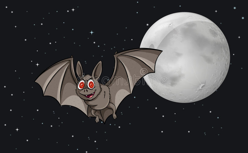 Bat in the sky royalty free illustration