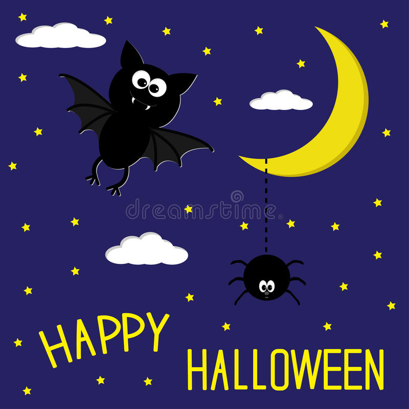 Download Bat And Spider. Starry Night. Moon And Clouds. Happy Halloween C Stock Illustration - Image: 33873430