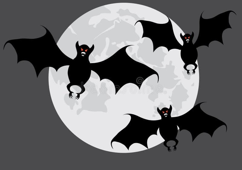 'bat' sur une lune. illustration stock