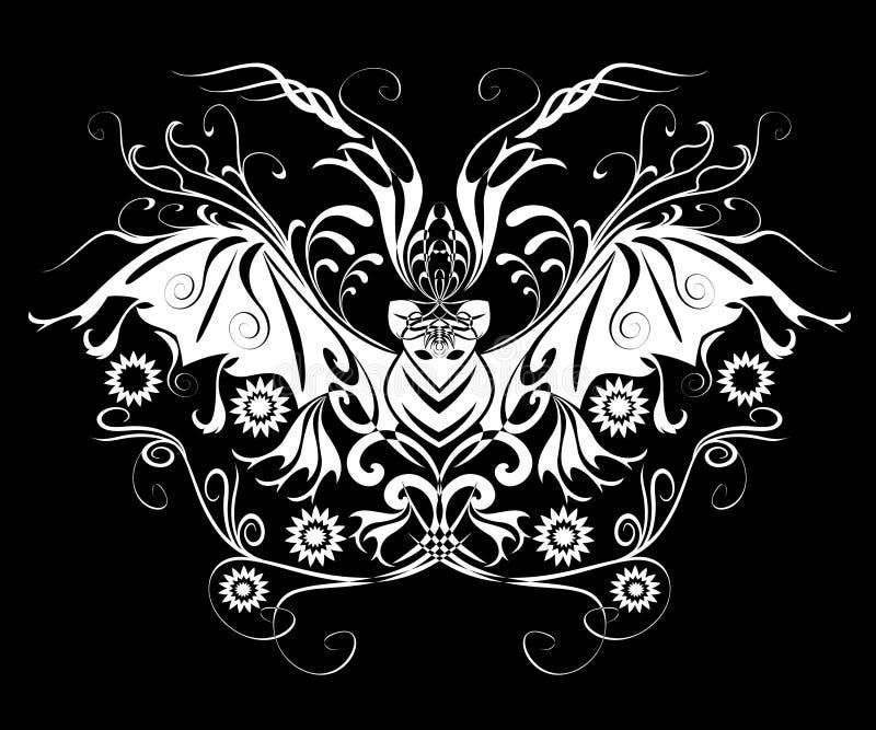 'bat' Tatoo de Veille de la toussaint illustration stock