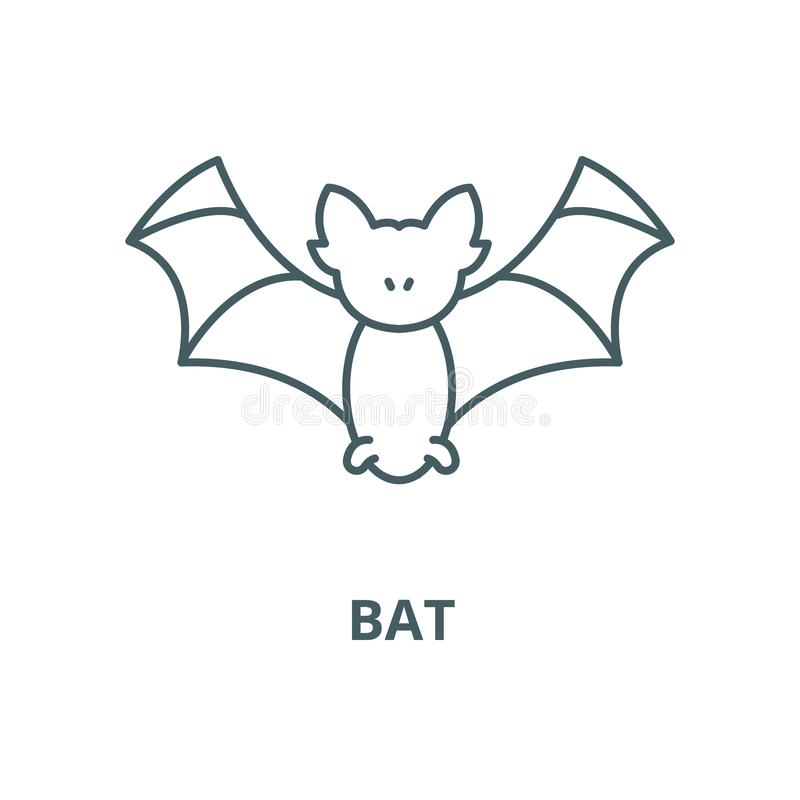 Bat vector line icon, linear concept, outline sign, symbol royalty free illustration