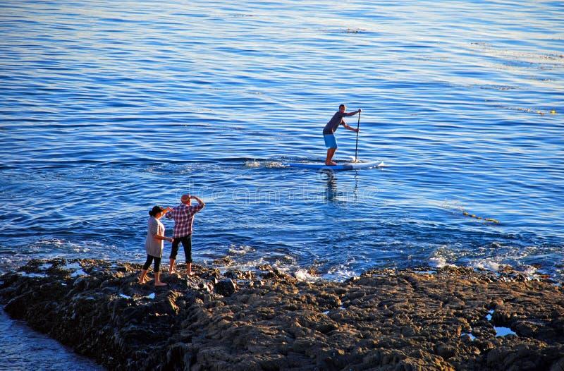 Bata al huésped de la ensenada de los buceadores, Laguna Beach, California fotos de archivo