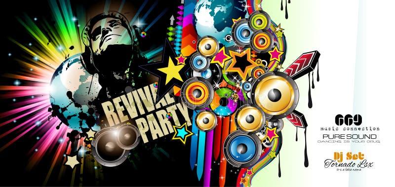 Bata o molde do inseto do disco com elementos da música, fundos evolutivos coloridos ilustração do vetor