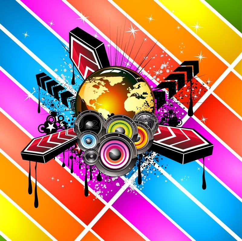 Bata o molde do inseto do disco com elementos da música, fundos evolutivos coloridos ilustração royalty free