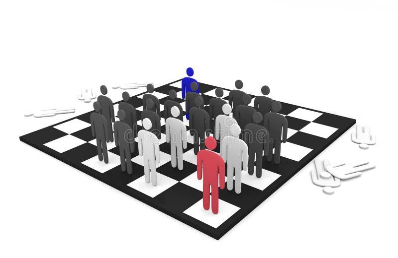 Bataille abstraite de deux équipes d'hommes sur un échiquier illustration libre de droits