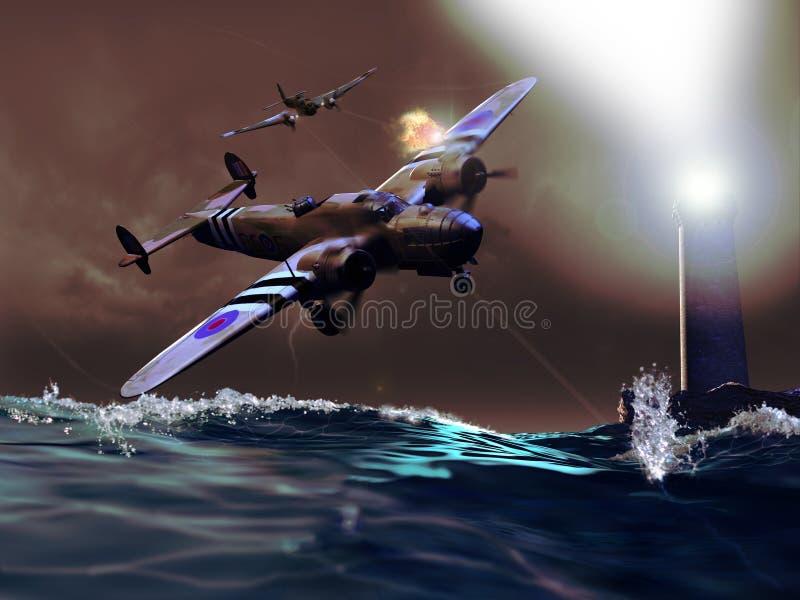 Bataille au-dessus de l'océan illustration de vecteur