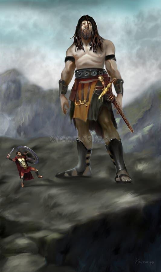 Bataille d'un géant contre un spartiate illustration de vecteur