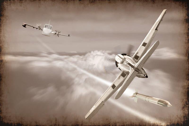 Bataille de rétro missile de lancement d'avion de guerre dans le ciel photo libre de droits