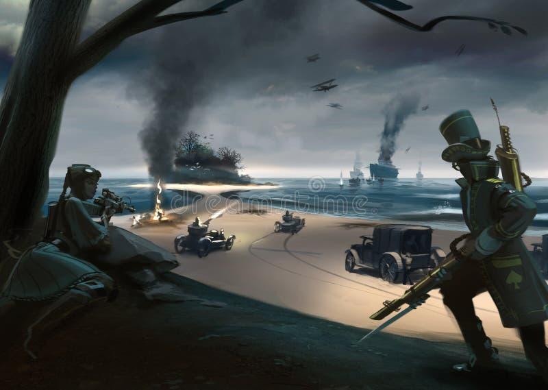 Bataille de style de Steampunk sur la côte, bateaux, voitures, avions illustration libre de droits