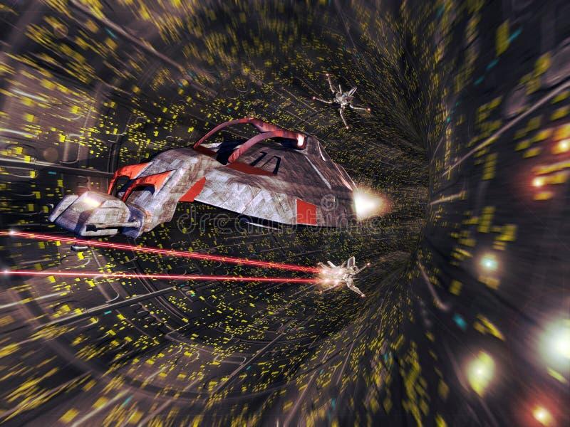Bataille de vaisseau spatial illustration stock