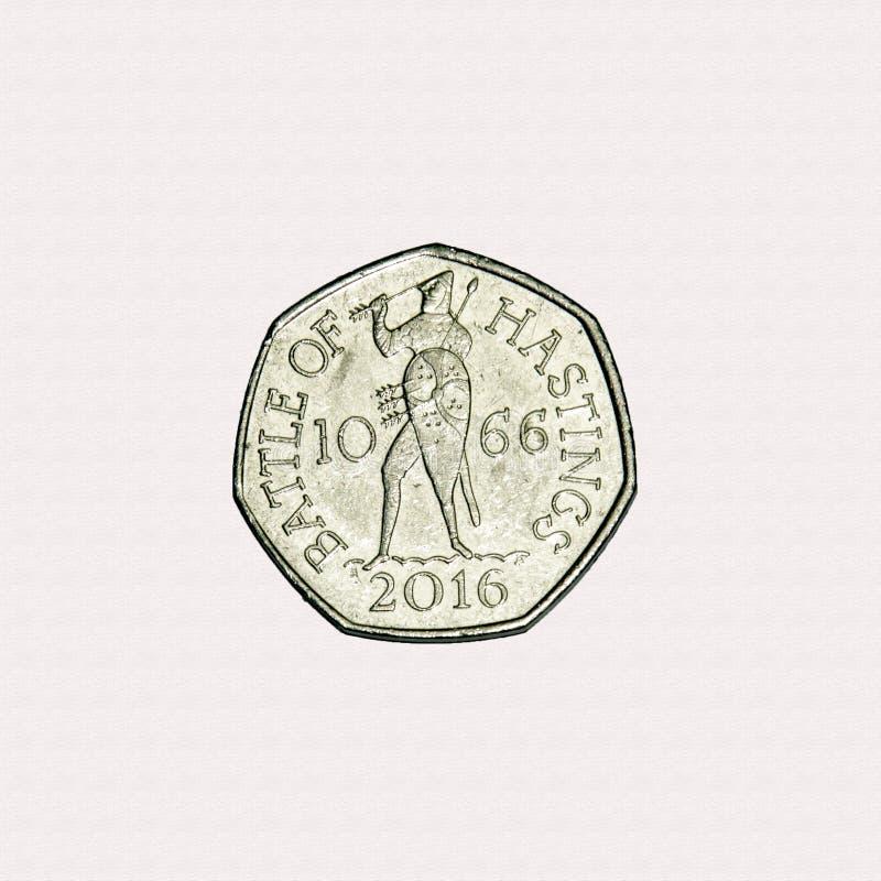 Bataille du morceau de Hastings 50p image libre de droits