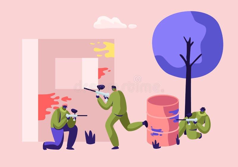 Bataille extrême de Paintball Joueurs dans l'uniforme protecteur et le masque visant et tirant avec l'arme à feu de l'Embrasure,  illustration stock