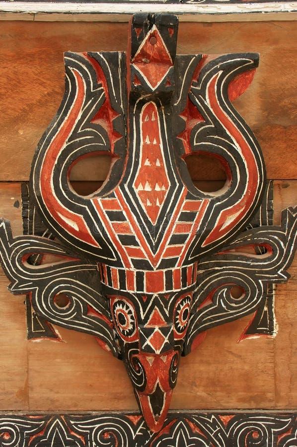 Batak房子的传统装饰在沙摩西岛海岛,苏门答腊上的 免版税库存图片