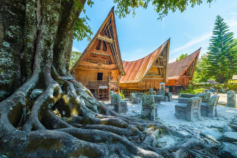 Batak traditional houses in a row, tree root in the foreground, teal orange look. Ambarita village, lake Toba, travel destination. In Sumatra, Indonesia stock images