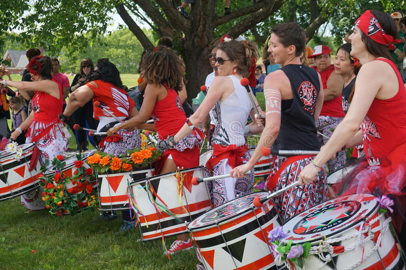 Batala At The 2015 Figment Festival 22. BatalaNYC is an international music group that plays a style of samba drumming, called samba reggae which originates in royalty free stock image
