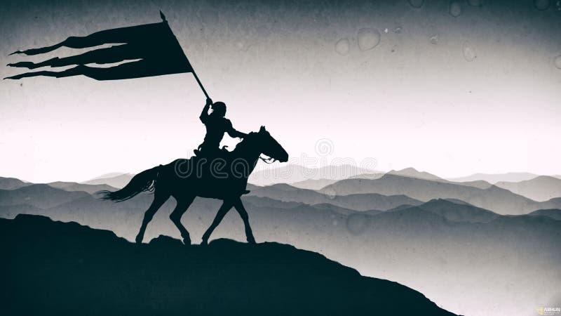 Batalha 'de Orbulak ' Pequim, foto preto e branco de China O guerreiro está guardando uma bandeira fotografia de stock