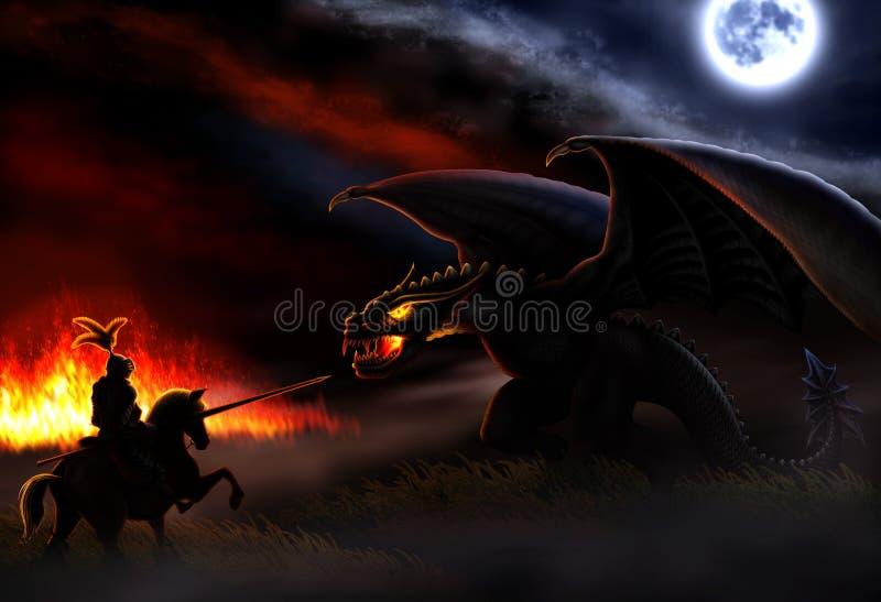 A batalha com o dragão ilustração do vetor