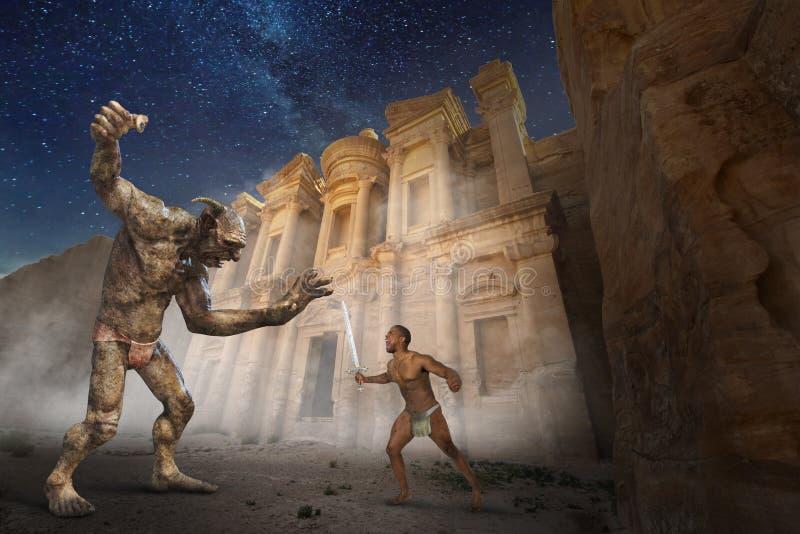 Batalha da fantasia da ficção científica, pesca à corrica, mal ilustração royalty free