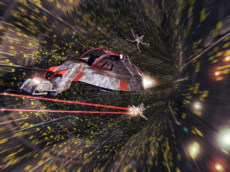Batalha da nave espacial ilustração stock