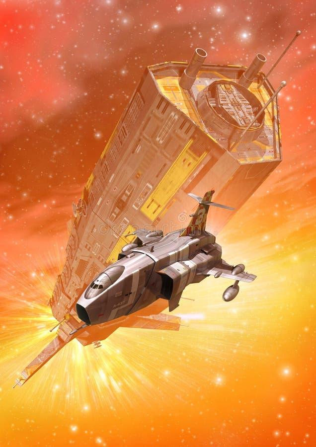 Batalha da perseguição da nave espacial ilustração royalty free