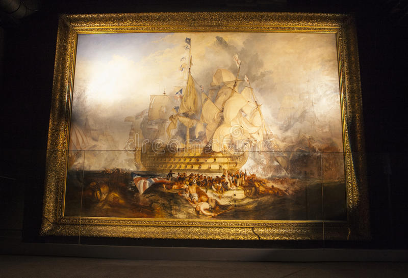 A batalha da pintura de Trafalgar por JMW Turner fotos de stock royalty free
