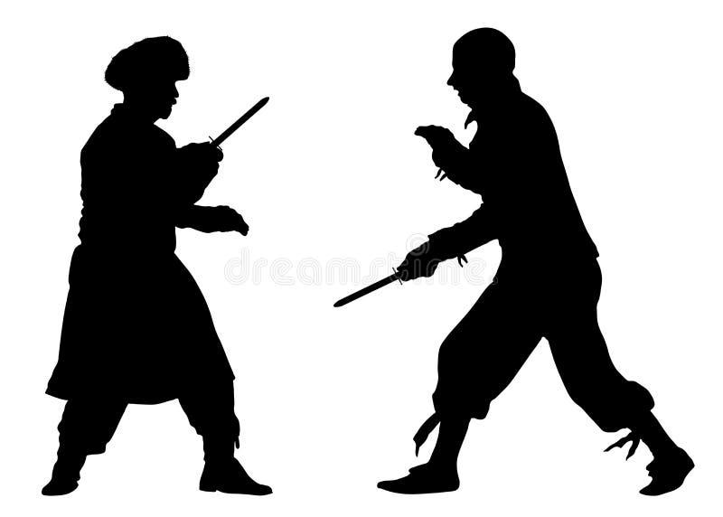 Batalha das facas Artes marciais da luta Vetor da silhueta ilustração royalty free