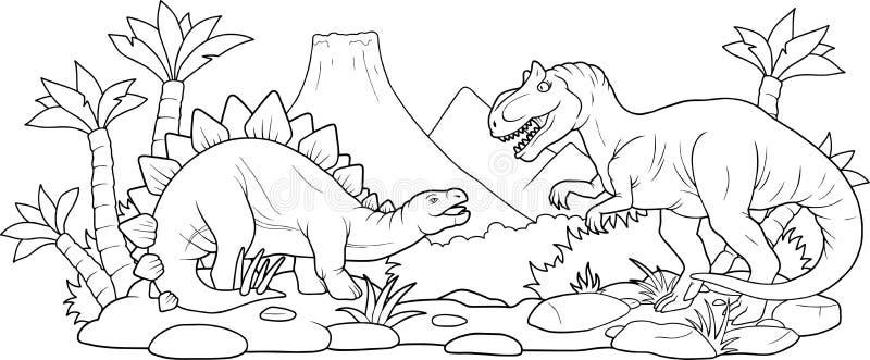 Batalha de dois dinossauros enormes ilustração do vetor