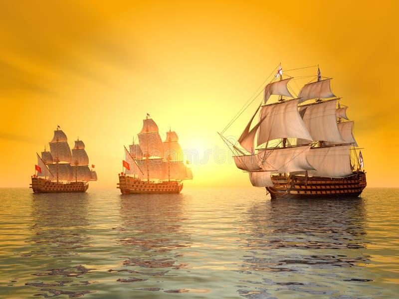 A batalha de Trafalgar ilustração royalty free