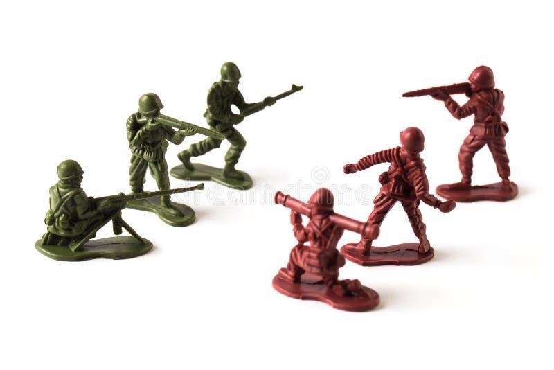 Batalha do brinquedo, isolada no fundo branco fotografia de stock